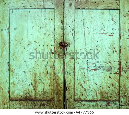 Grunge cabinet doors painted green - stock photo