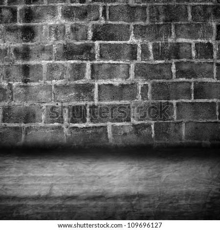 grunge cement block room - stock photo