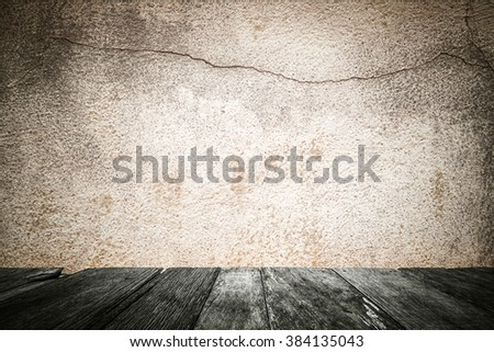 Grunge cement wall with wood floor, abstract pattern background. - stock photo