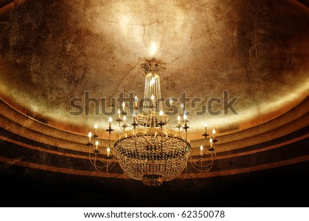 grunge chandelier - stock photo