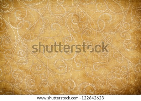 grunge christmas decorated yellow table cloth background - stock photo