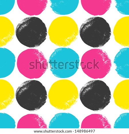 Grunge circles pattern in CMYK colors - stock photo