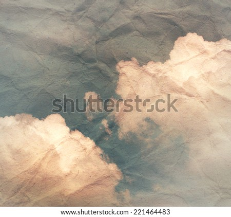 Grunge cloud background,on old creased paper texture - stock photo