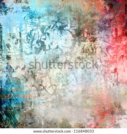 Grunge colorful background, watercolor illustration - stock photo
