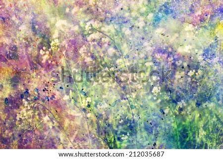 grunge colorful watercolor splatter and small blooming flowers - stock photo