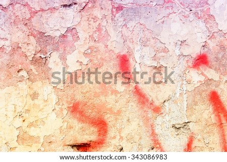 Grunge concrete wall background - urban decay texture with peeling paint. - stock photo