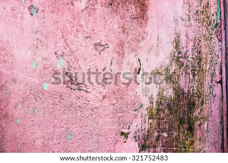 Grunge Cracked Concrete Wall Background, Old Pink Vintage Wall - stock photo