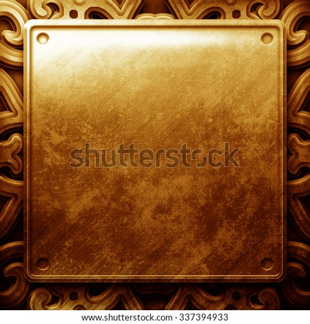 Grunge cracked  gold metal plate with ornament - stock photo
