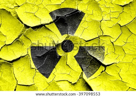 Grunge cracked Nuclear danger background - stock photo