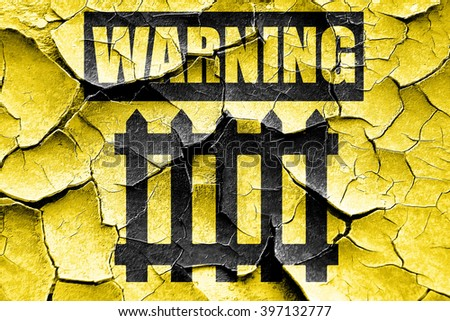 Grunge cracked Railway warning sign - stock photo