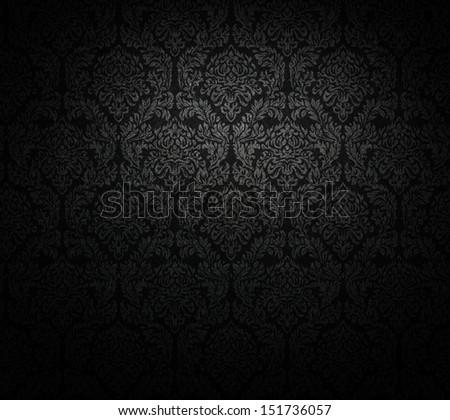 grunge, dark wallpaper; baroque style. - stock photo