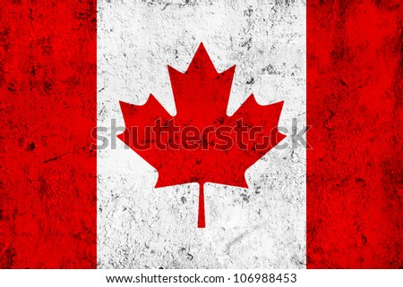 Grunge Dirty and Weathered Canadian Flag, Old Metal Textured - stock photo