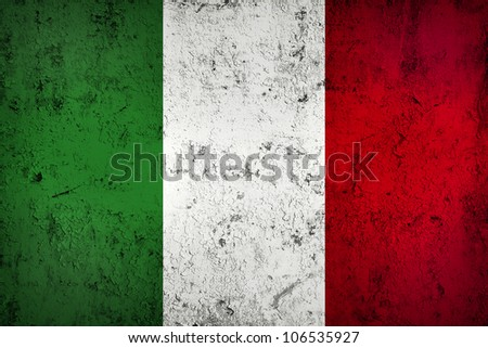 Grunge Dirty and Weathered Italian Flag, Old Metal Textured - stock photo