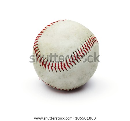 Grunge dirty baseball ball isolated on white background - stock photo