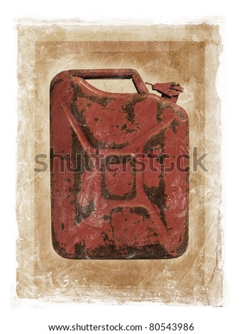 Grunge dirty photomanipulation of a jerry can fuel container. - stock photo