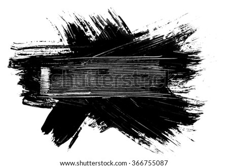 Grunge distressed paintbrush strokes background banner frame element illustration - stock photo