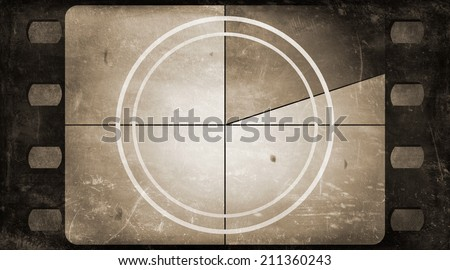Grunge film frame background with vintage movie countdown (realistic aspect ratio) - stock photo