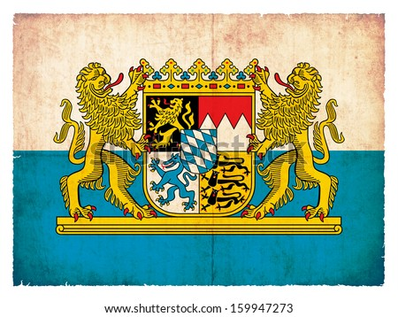 Grunge flag of Bavaria (Germany) - stock photo
