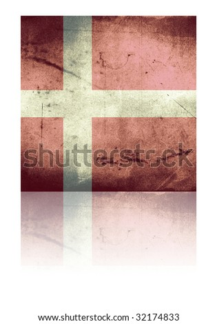 grunge flag of denmark with shadow - stock photo