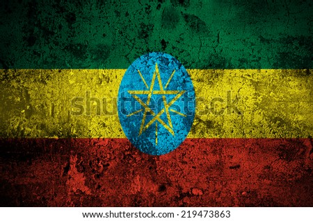 grunge flag of Ethiopia with capital in Addis Ababa - stock photo