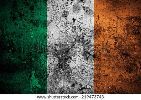 grunge flag of Ireland with capital in Dublin - stock photo