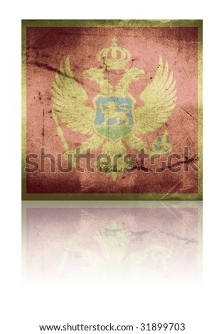 grunge flag of montenegro with shadow - stock photo