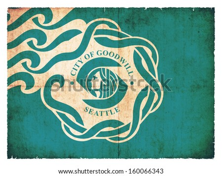Grunge flag of Seattle (USA) - stock photo