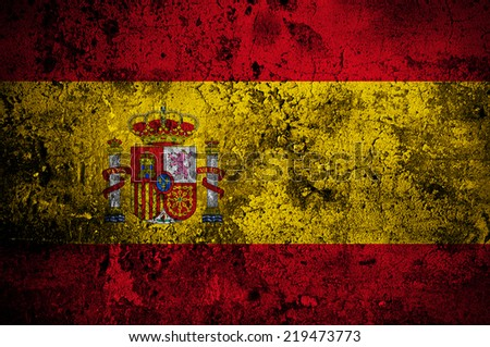 grunge flag of Spain with capital in Madrid - stock photo