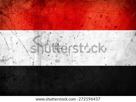 grunge-flag of  Yemen - stock photo