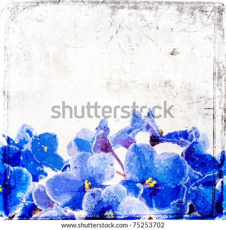 Grunge flowers background - stock photo