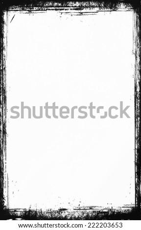 Grunge frame, black and white - stock photo