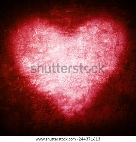 Grunge frame , heart shape red color, Valentines Day. - stock photo
