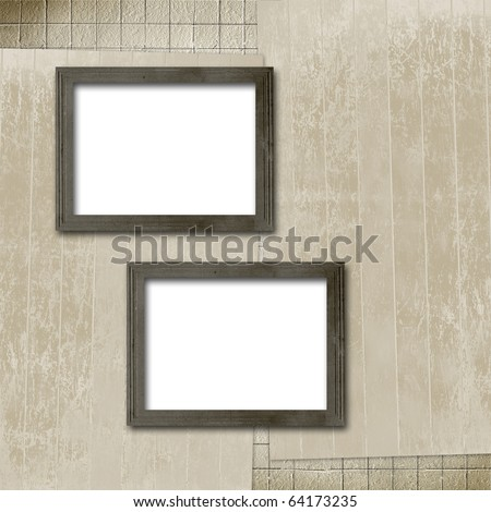 Grunge frameworks for invitation on the vintage grey abstract background - stock photo