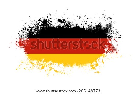 Grunge german ink splattered flag - stock photo