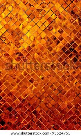 grunge golden mosaic, Copper background - stock photo
