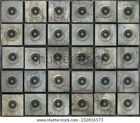 grunge gray party speaker woofer wall - stock photo