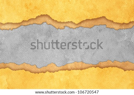 Grunge Gray Torn Paper Background with Brown and Yellow Stripes - stock photo
