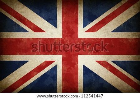 Grunge Great Britain Flag as an old vintage British symbol of patriotism and English culture on an antique textured material for the United Kingdom government. - stock photo