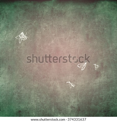 Grunge Green Pink Texture with Chalk Drawn Butterfly Midges Summer Vintage Shabby Vignette Background  - stock photo