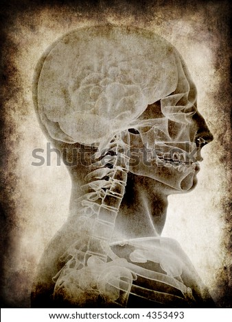 grunge head - stock photo