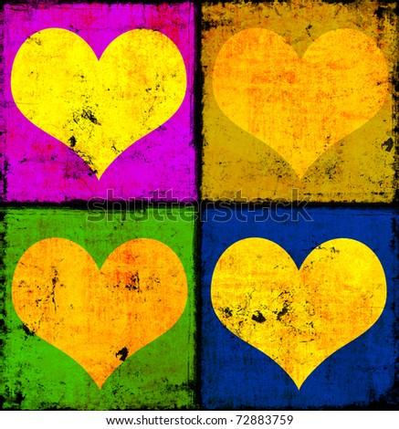 Grunge hearts background - stock photo