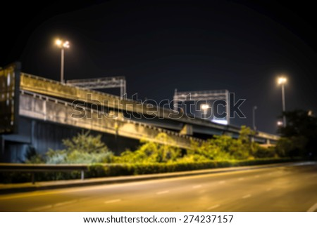 Grunge Highway and road at night time - stock photo