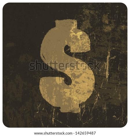 Grunge illustration of dollar sign. Raster version, vector file available in portfolio. - stock photo