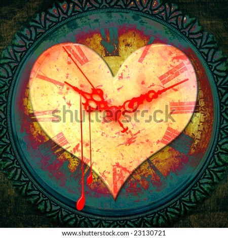 Grunge illustration with a bleeding heart shape over a textured clock face - stock photo