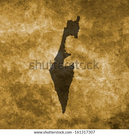 Grunge illustration with the map of Israel - stock photo