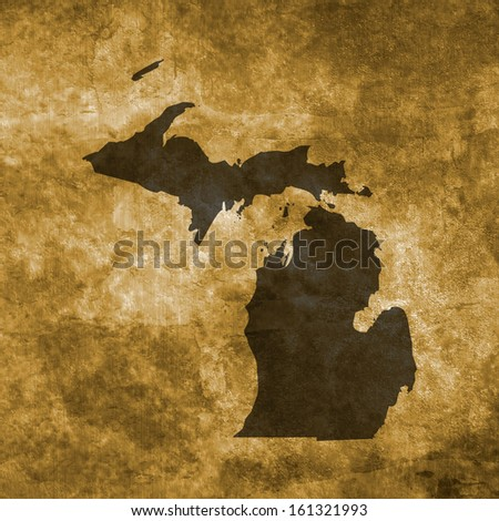 Grunge illustration with the map of Michigan - stock photo