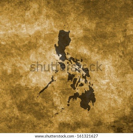Grunge illustration with the map of Philippines - stock photo