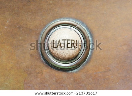 Grunge image of an old button - later - stock photo