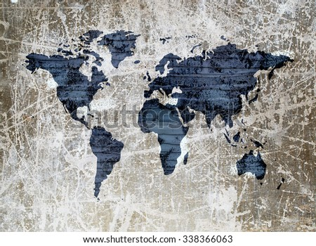 grunge image of grey wooden wall in shape of world map - stock photo
