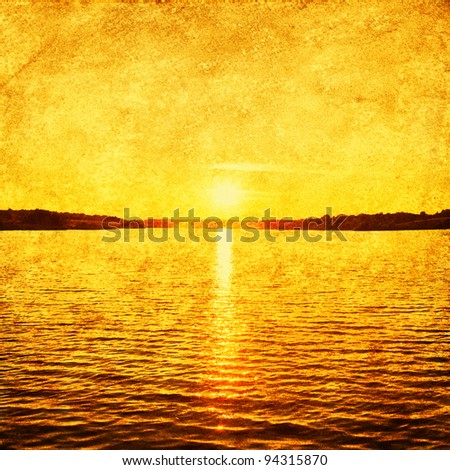 Grunge image of lake and sky. - stock photo